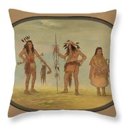 Two Ojibbeway Warriors And A Woman Throw Pillow