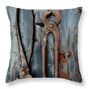 Two Old Rusty Pliers Throw Pillow