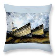 Two Old Boats Throw Pillow