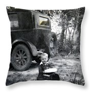 Two Old Cars Throw Pillow