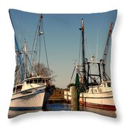 Two Old Shrimpboats Throw Pillow