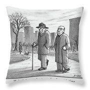 Two Older Men Walk With Canes Through A Park. Throw Pillow