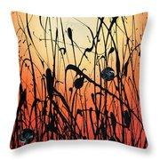 Two Orbs Meet In A Field At Sunset Throw Pillow