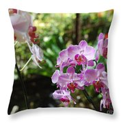 Two Orchid Branches Number One Throw Pillow