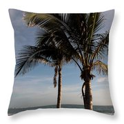 Two Palms And The Gulf Of Mexico Throw Pillow