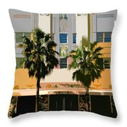 Two Palms Art Deco Building Throw Pillow