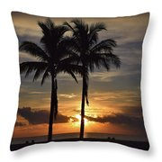 Two Palms At Dawn 18222 Throw Pillow