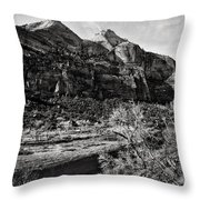 Two Peaks - Bw Throw Pillow