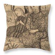 Two Peasant Girls Throw Pillow
