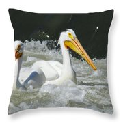 Two Pelicans At Horn Rapids Throw Pillow