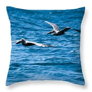Two Pelicans Flying Throw Pillow
