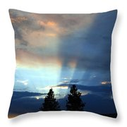 Two-pine Sunset Throw Pillow