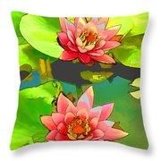 Two Pink Blooming Water Lilies  Throw Pillow