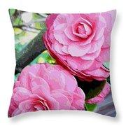Two Pink Camellias - Digital Art Throw Pillow