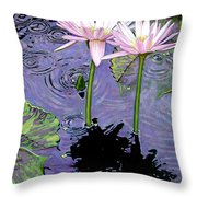 Two Pink Lilies In The Rain Throw Pillow