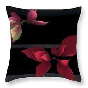 Two Poinsettias Throw Pillow