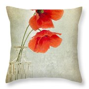 Two Poppies In A Glass Vase Throw Pillow