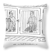 Two Prisoners Sit In Separate Dog Kennel Cells Throw Pillow