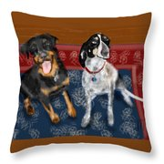 Two Pups On A Persian Carpet Throw Pillow