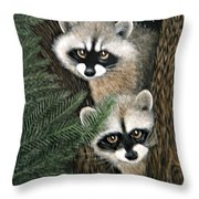 Two Raccoons Throw Pillow