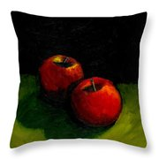 Two Red Apples Still Life Throw Pillow