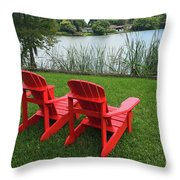 Two Red Chairs Overlooking Lake Formosa Throw Pillow