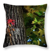 Two Red Leaves Throw Pillow