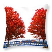 Two Red Trees Throw Pillow