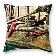 Two Red Wrenches On Plumber's Workbench Throw Pillow