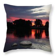 Two Rocks Sunset In Prosser Throw Pillow by Carol Groenen