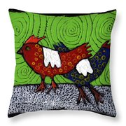 Two Roosters Throw Pillow