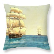 Two Royal Navy Corvettes On Patrol In The Southern Ocean Throw Pillow