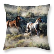 Two Running Horses Throw Pillow