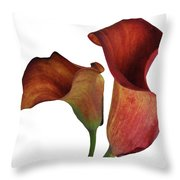 Two Rust Calla Lilies Square Throw Pillow
