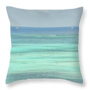 Two Sailboats In The Bahamas Throw Pillow