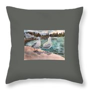 Two Seagulls By The Sea Throw Pillow