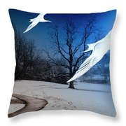 Two Seagulls Fly Together In The Clear Blue Sky Throw Pillow by Fernando Cruz