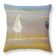 Two Seagulls Wondering Where The Chips Have Gone Throw Pillow