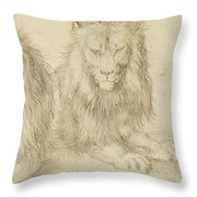 Two Seated Lions Throw Pillow