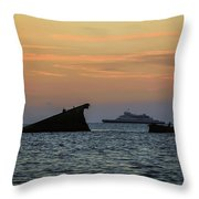 Two Ships Sunset Beach Cape May Nj Throw Pillow