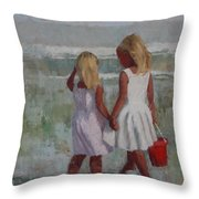 Two Sisters And Red Bucket Throw Pillow