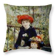 Two Sisters Throw Pillow by Pierre Auguste Renoir