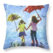 Two Sisters Rain Blond Little Sister Throw Pillow