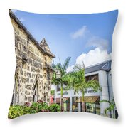 Two Solitudes, Holetown Church And Limegrove Mall, Barbados Throw Pillow