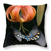 Two Spicebush Swallowtail Butterflies On A Turks Cap Lily Throw Pillow