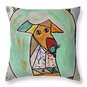 Two Star Greyhound Throw Pillow