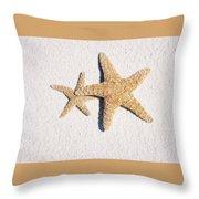 Two Starfish On The White Sand Throw Pillow