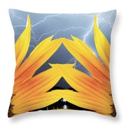 Two Sunflower Lightning Storm Throw Pillow by James BO  Insogna
