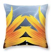 Two Sunflower Lightning Storm Throw Pillow
