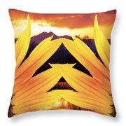 Two Sunflower Sunset Throw Pillow